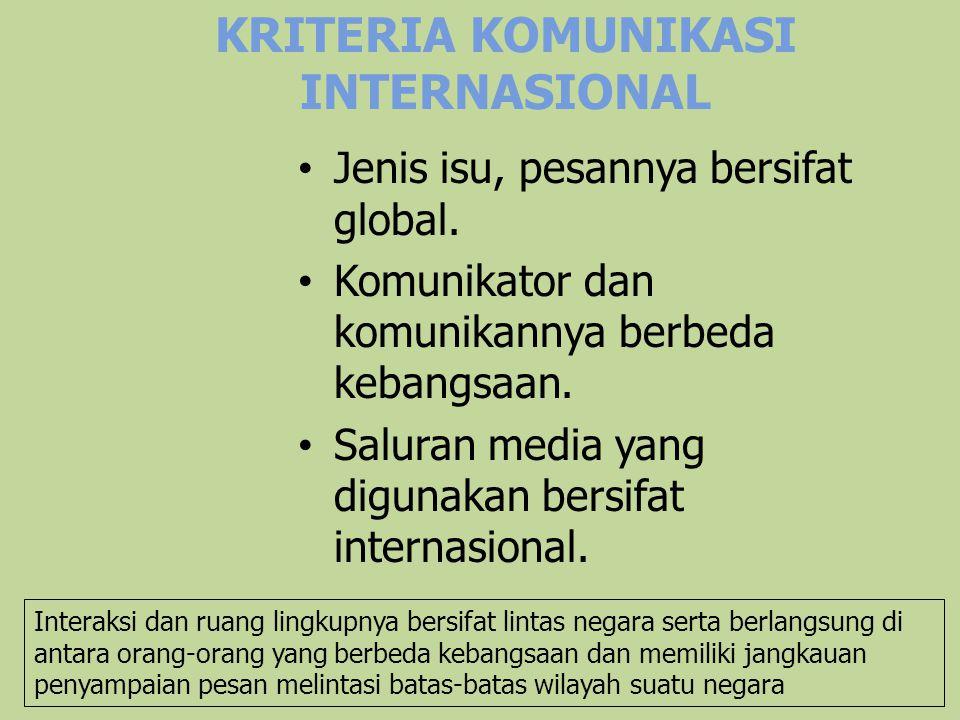 KRITERIA KOMUNIKASI INTERNASIONAL Jenis isu, pesannya bersifat global. Komunikator dan komunikannya berbeda kebangsaan. Saluran media yang digunakan b