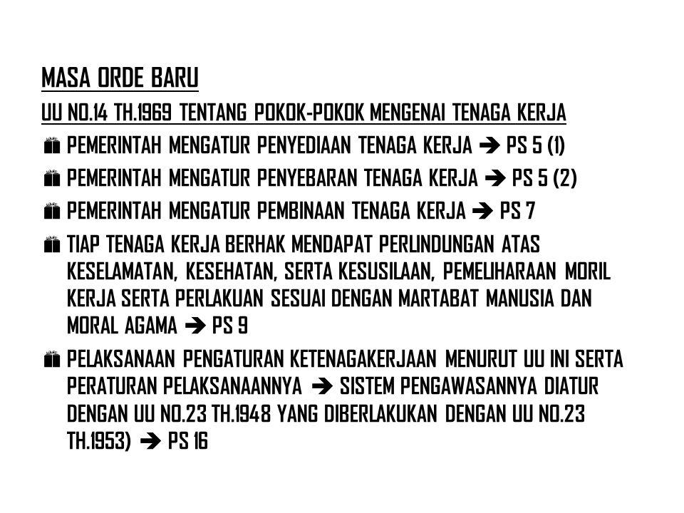 MASA ORDE BARU UU NO.14 TH.1969 TENTANG POKOK-POKOK MENGENAI TENAGA KERJA  PEMERINTAH MENGATUR PENYEDIAAN TENAGA KERJA  PS 5 (1)  PEMERINTAH MENGAT