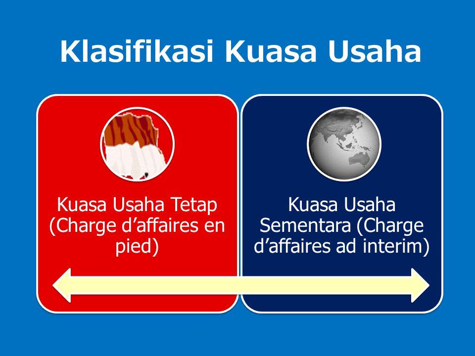 Klasifikasi Kuasa Usaha Kuasa Usaha Tetap (Charge d'affaires en pied) Kuasa Usaha Sementara (Charge d'affaires ad interim)