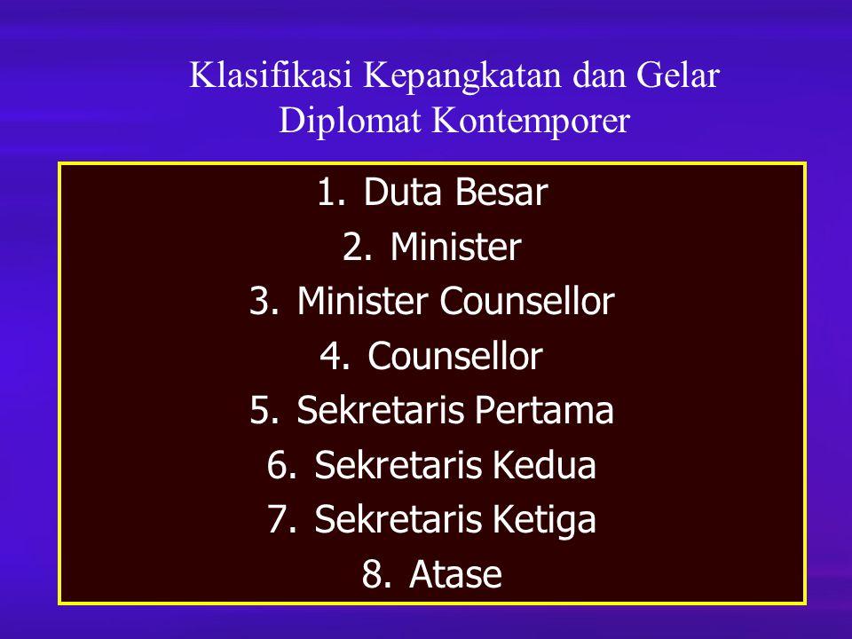 Klasifikasi Kepangkatan dan Gelar Diplomat Kontemporer 1.Duta Besar 2.Minister 3.Minister Counsellor 4.Counsellor 5.Sekretaris Pertama 6.Sekretaris Ke