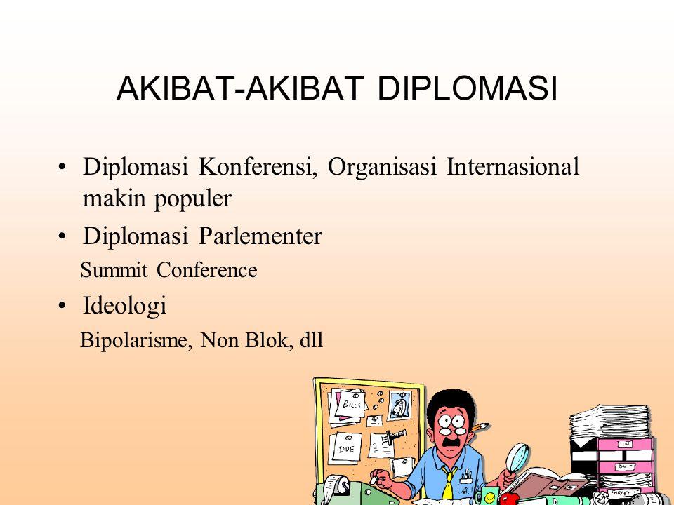 AKIBAT-AKIBAT DIPLOMASI Diplomasi Konferensi, Organisasi Internasional makin populer Diplomasi Parlementer Summit Conference Ideologi Bipolarisme, Non