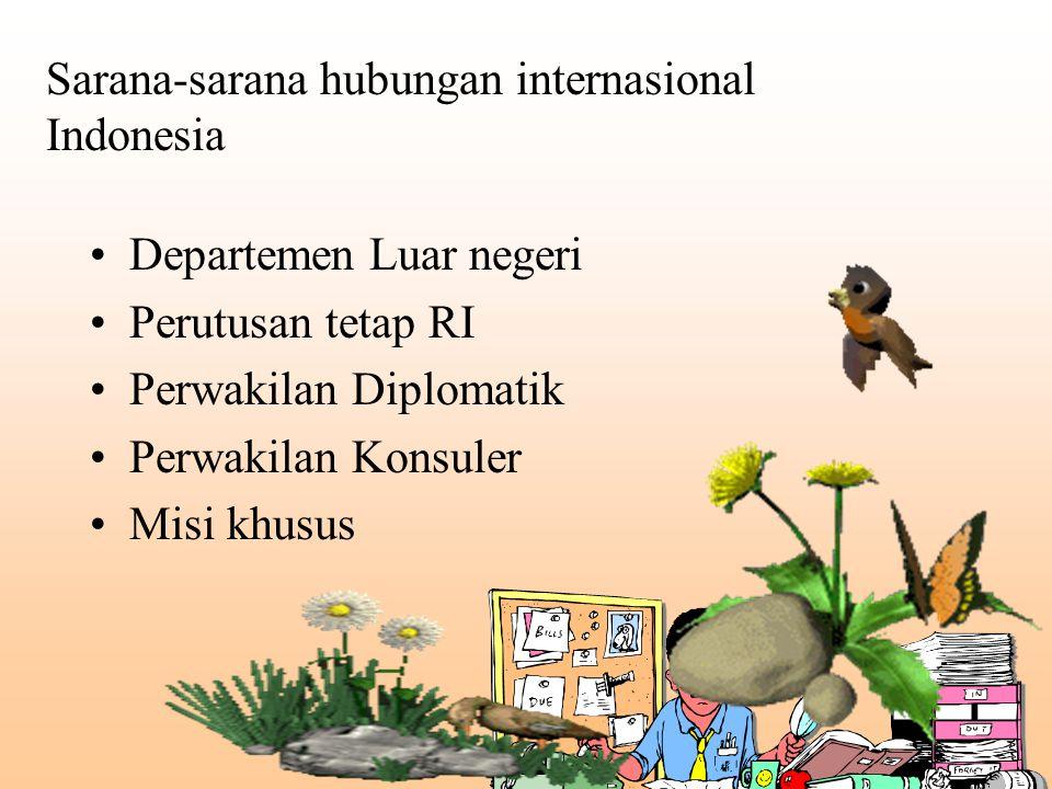 Sarana-sarana hubungan internasional Indonesia Departemen Luar negeri Perutusan tetap RI Perwakilan Diplomatik Perwakilan Konsuler Misi khusus