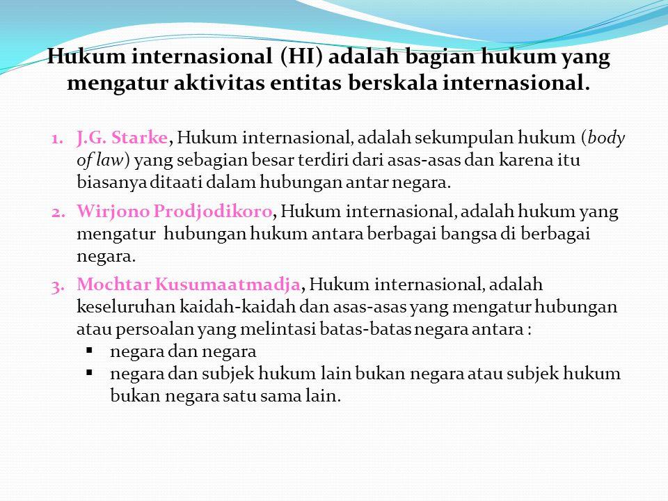 Hukum internasional (HI) adalah bagian hukum yang mengatur aktivitas entitas berskala internasional.