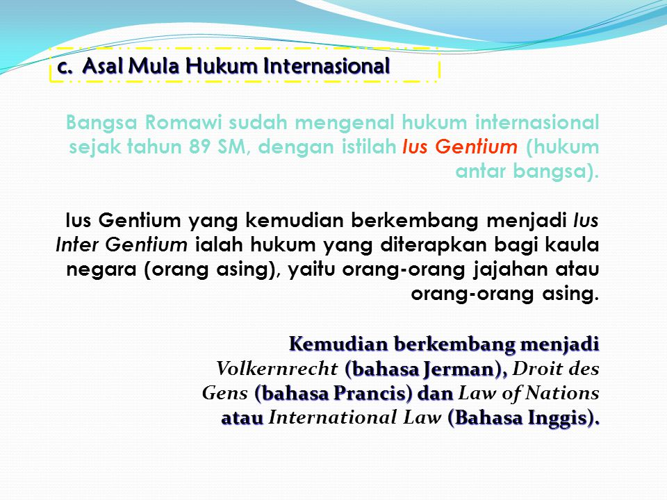 ORGANISASI INTERNASIONAL Organisasi internasional adalah bentuk kerjasama antar pihak-pihak yang bersifat internasional untuk tujuan yang bersifat internasional Org.