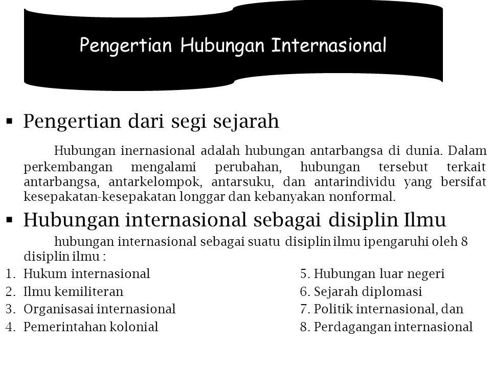 Pentingnya hubungan internasional bagi suatu negara Hubungan internasional secara khusus diwakili oleh politik luar negeri, politik luar negeri merupakan lembaga hubungan luar negeri.