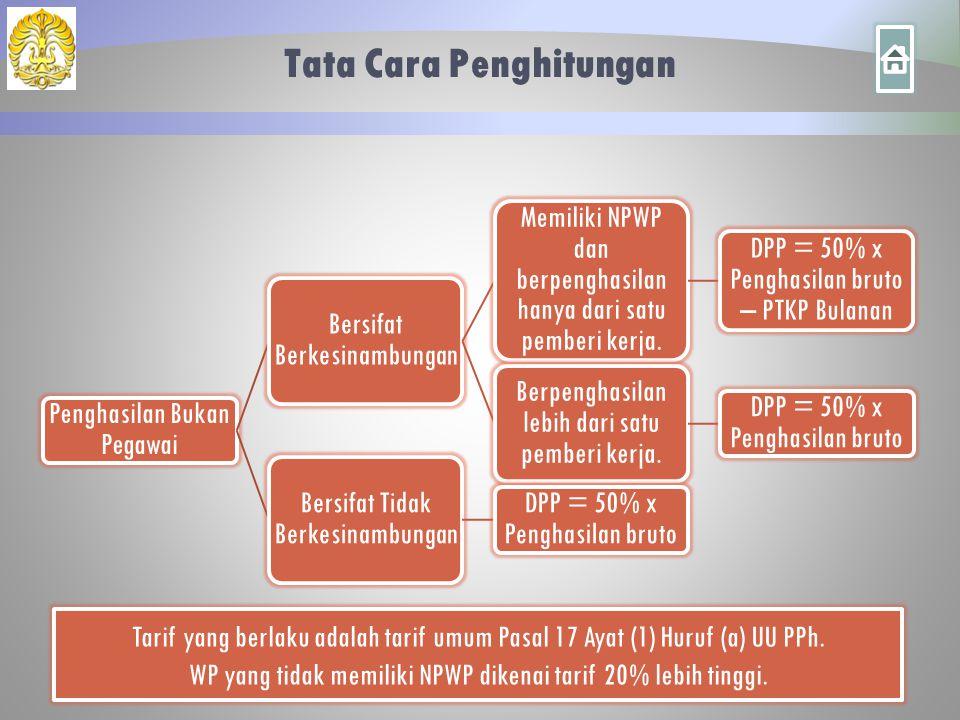Tata Cara Penghitungan Penghasilan Bukan Pegawai Bersifat Berkesinambungan Memiliki NPWP dan berpenghasilan hanya dari satu pemberi kerja. DPP = 50% x