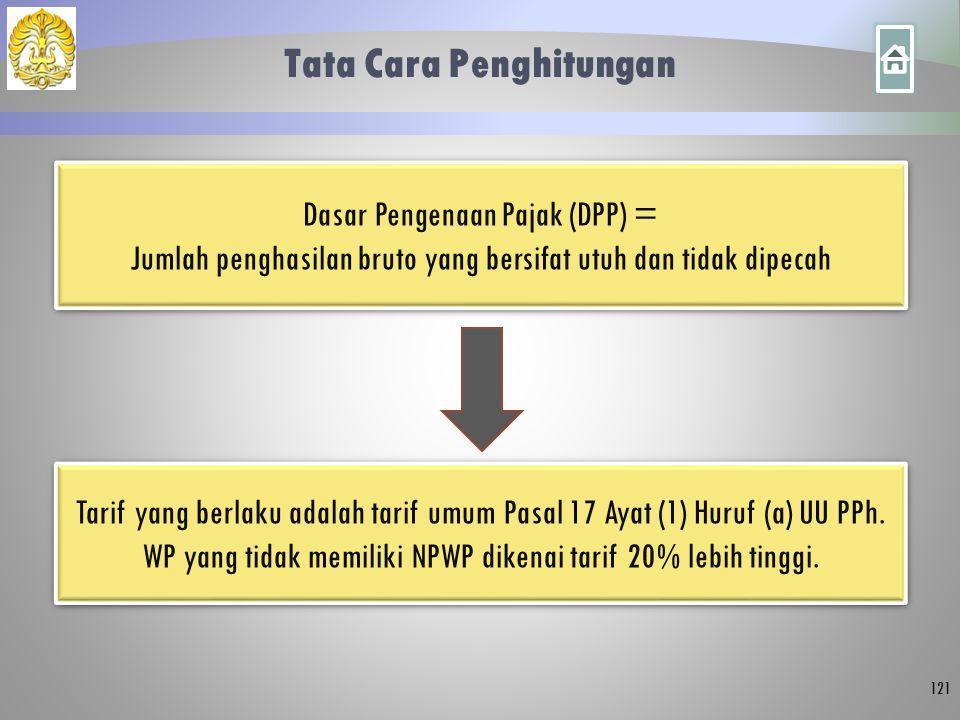 Tata Cara Penghitungan 121 Dasar Pengenaan Pajak (DPP) = Jumlah penghasilan bruto yang bersifat utuh dan tidak dipecah Dasar Pengenaan Pajak (DPP) = J