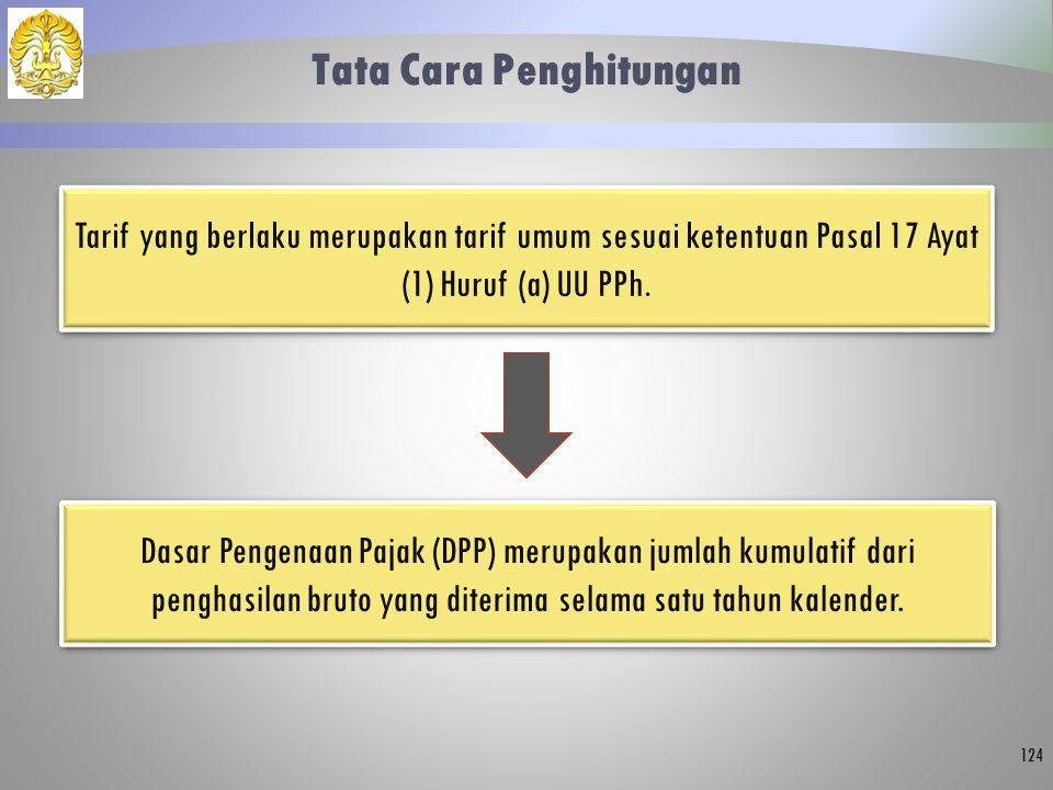 Tata Cara Penghitungan 124 Tarif yang berlaku merupakan tarif umum sesuai ketentuan Pasal 17 Ayat (1) Huruf (a) UU PPh. Dasar Pengenaan Pajak (DPP) me