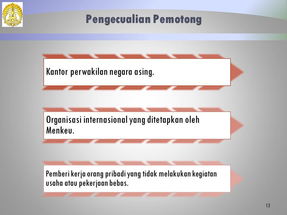 Pengecualian Pemotong Kantor perwakilan negara asing. Organisasi internasional yang ditetapkan oleh Menkeu. Pemberi kerja orang pribadi yang tidak mel
