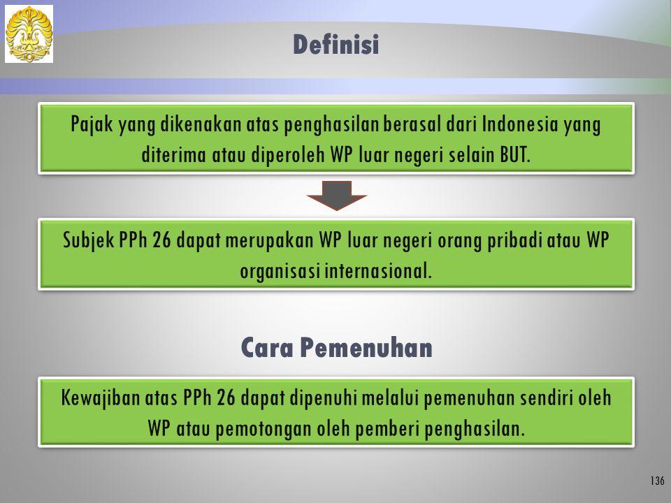 Definisi 136 Pajak yang dikenakan atas penghasilan berasal dari Indonesia yang diterima atau diperoleh WP luar negeri selain BUT. Subjek PPh 26 dapat