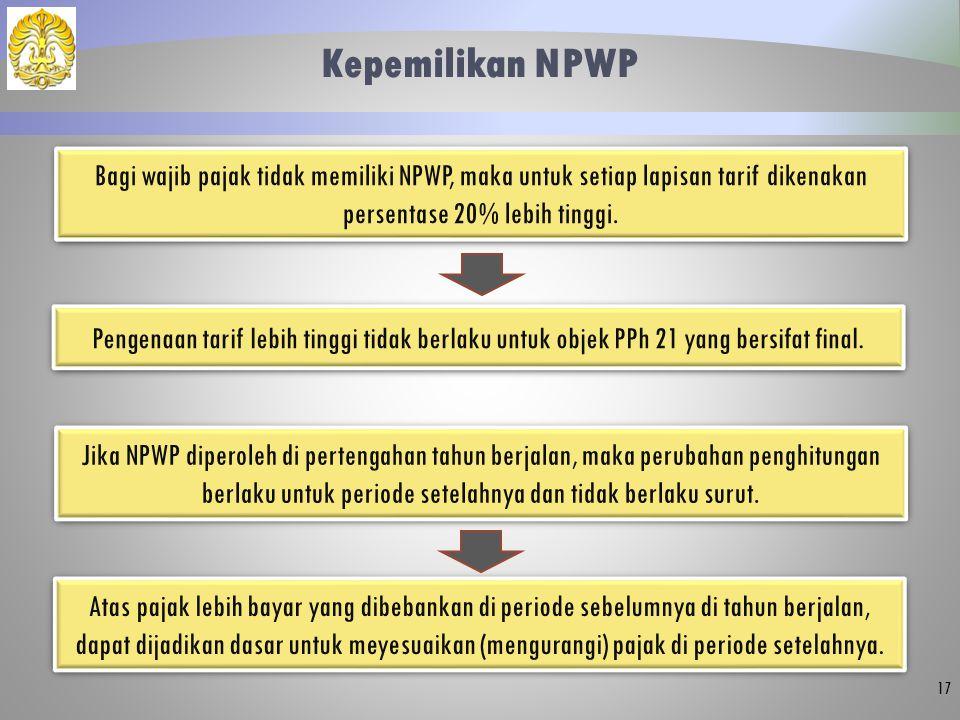 Kepemilikan NPWP 17 Bagi wajib pajak tidak memiliki NPWP, maka untuk setiap lapisan tarif dikenakan persentase 20% lebih tinggi. Pengenaan tarif lebih
