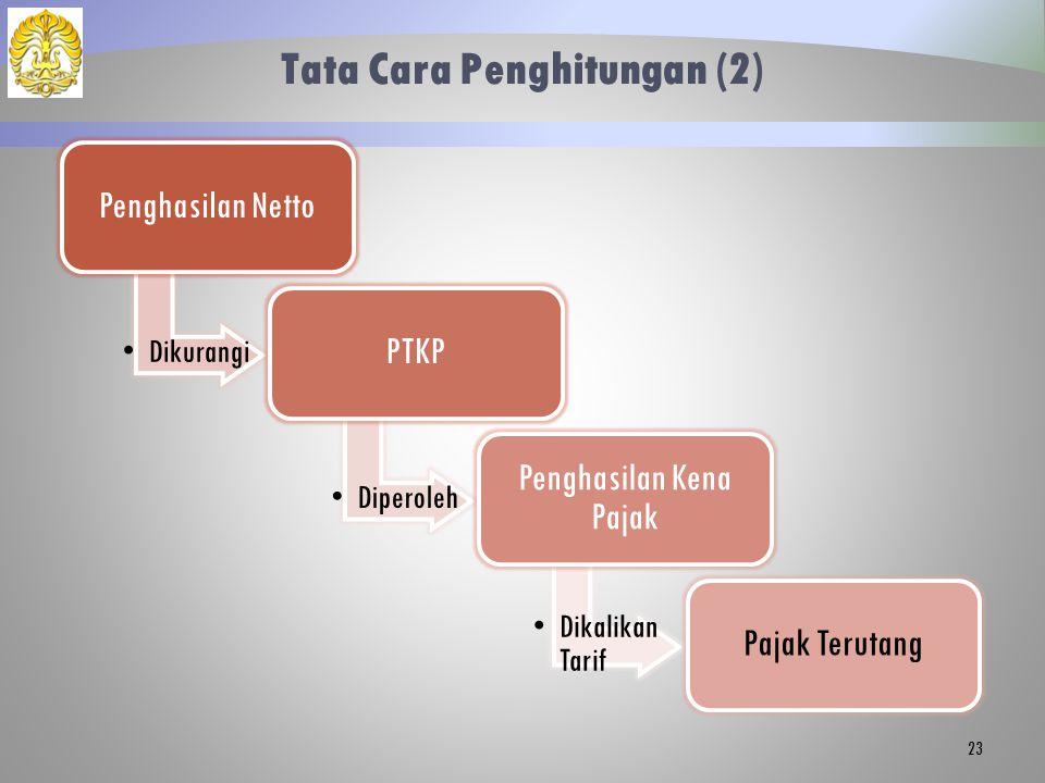 Tata Cara Penghitungan (2) Penghasilan Netto Dikurangi PTKP Diperoleh Penghasilan Kena Pajak Dikalikan Tarif Pajak Terutang 23