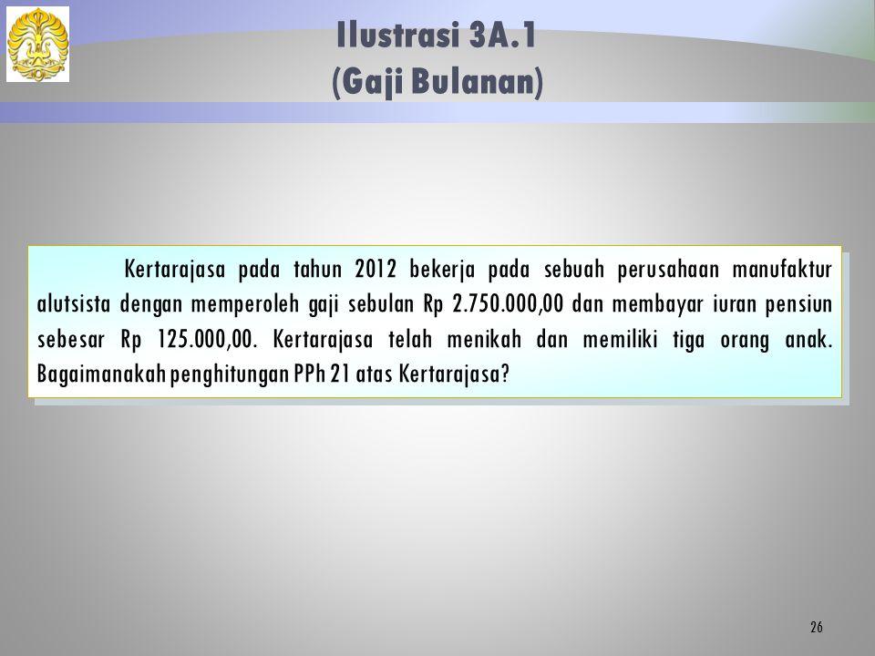 Ilustrasi 3A.1 (Gaji Bulanan) 26 Kertarajasa pada tahun 2012 bekerja pada sebuah perusahaan manufaktur alutsista dengan memperoleh gaji sebulan Rp 2.7