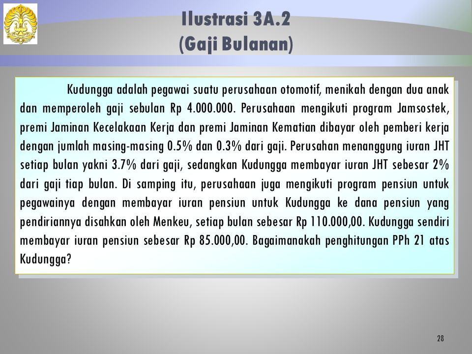 Ilustrasi 3A.2 (Gaji Bulanan) 28 Kudungga adalah pegawai suatu perusahaan otomotif, menikah dengan dua anak dan memperoleh gaji sebulan Rp 4.000.000.