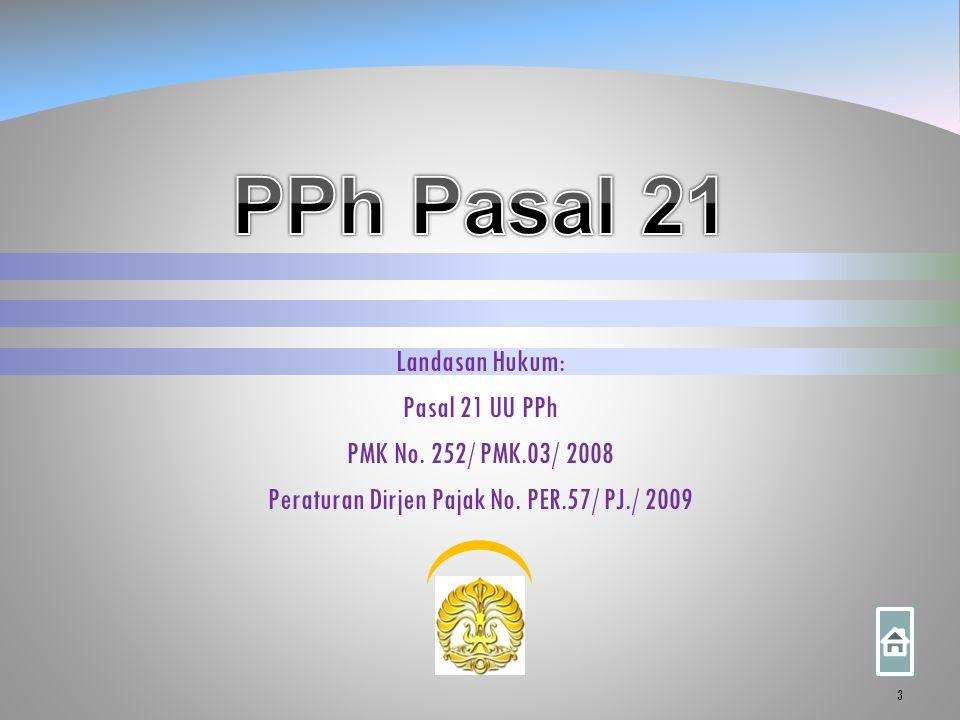 Landasan Hukum: Pasal 21 UU PPh PMK No. 252/ PMK.03/ 2008 Peraturan Dirjen Pajak No. PER.57/ PJ./ 2009 3