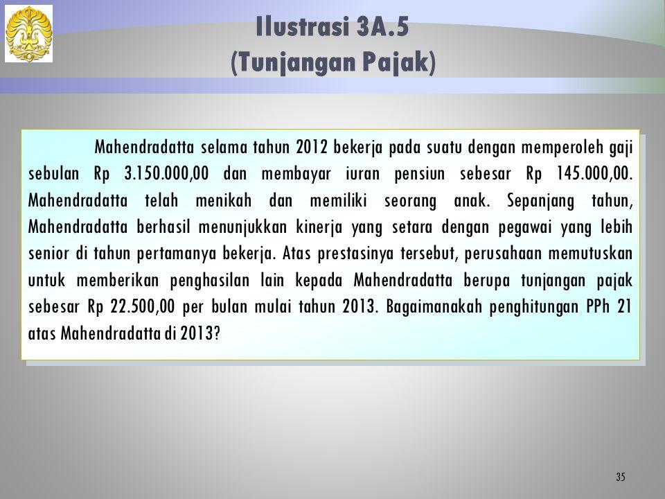 Ilustrasi 3A.5 (Tunjangan Pajak) 35 Mahendradatta selama tahun 2012 bekerja pada suatu dengan memperoleh gaji sebulan Rp 3.150.000,00 dan membayar iur