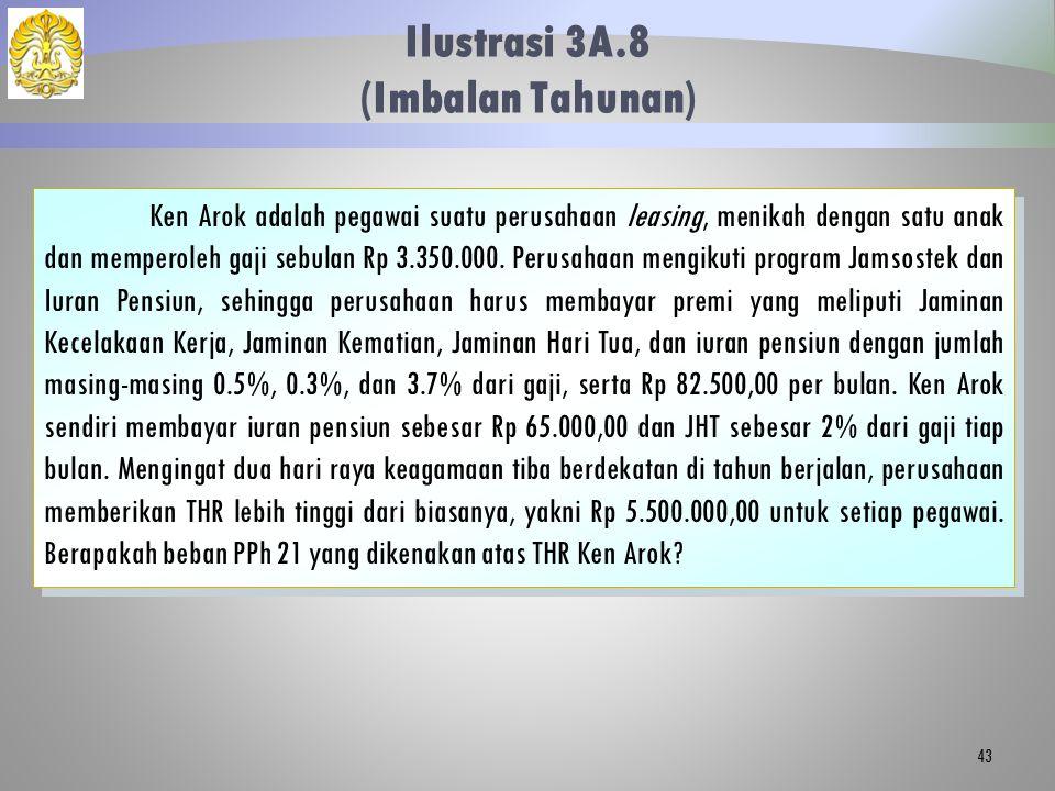 Ilustrasi 3A.8 (Imbalan Tahunan) 43 Ken Arok adalah pegawai suatu perusahaan leasing, menikah dengan satu anak dan memperoleh gaji sebulan Rp 3.350.00