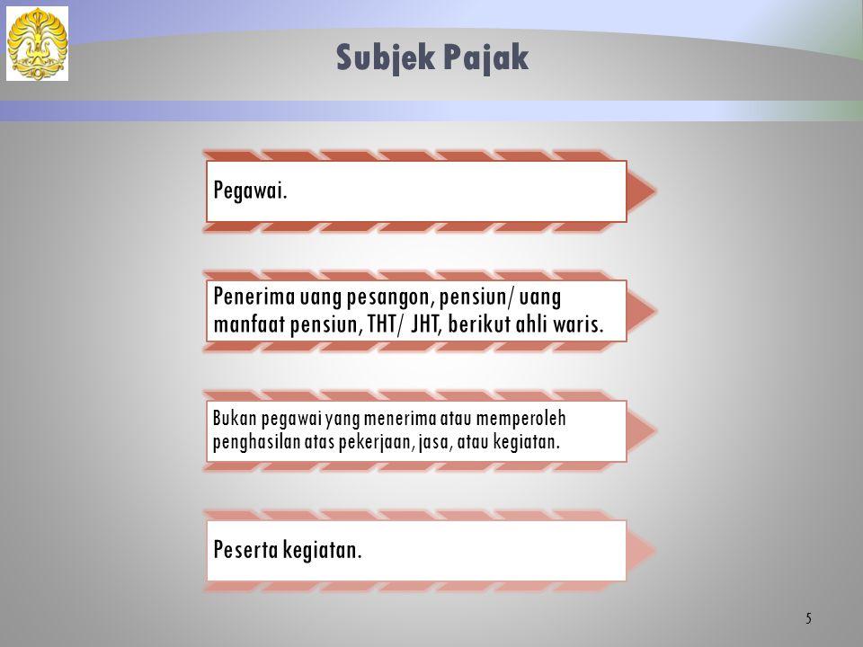 Subjek Pajak (Bukan Pegawai yang Menerima Atau Memperoleh Penghasilan) 6  Tenaga ahli yg melakukan pekerjaan bebas.