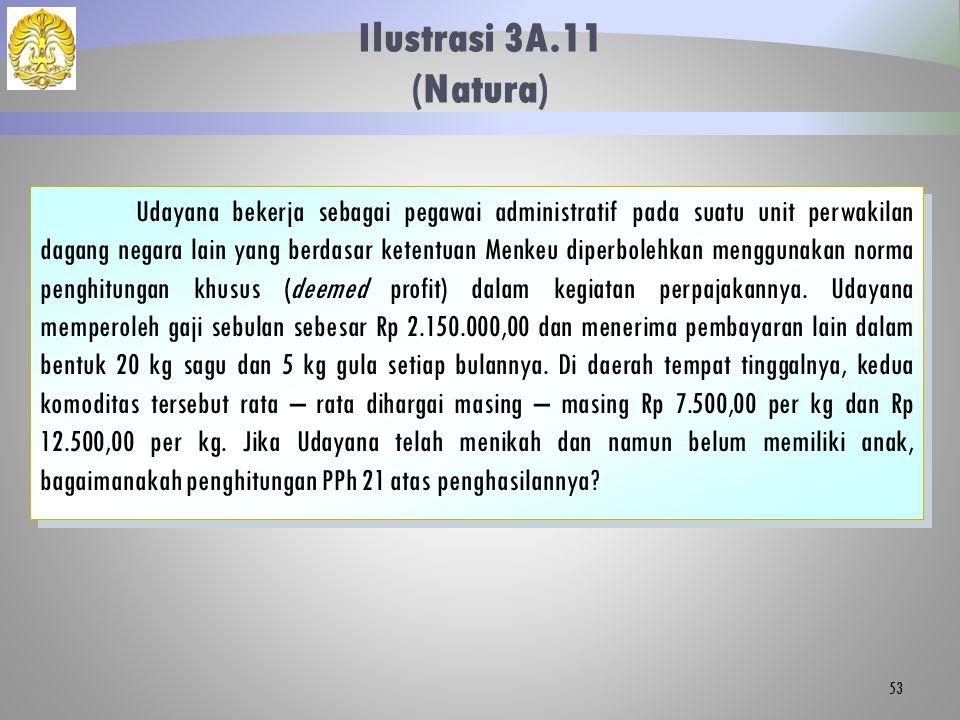 Ilustrasi 3A.11 (Natura) 53 Udayana bekerja sebagai pegawai administratif pada suatu unit perwakilan dagang negara lain yang berdasar ketentuan Menkeu