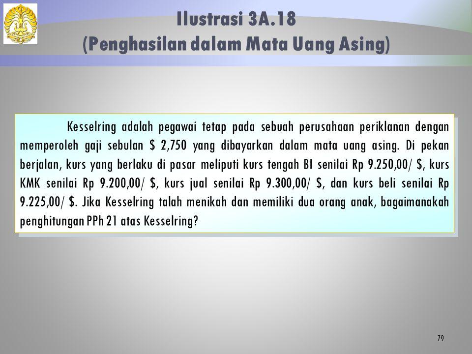 Ilustrasi 3A.18 (Penghasilan dalam Mata Uang Asing) 79 Kesselring adalah pegawai tetap pada sebuah perusahaan periklanan dengan memperoleh gaji sebula