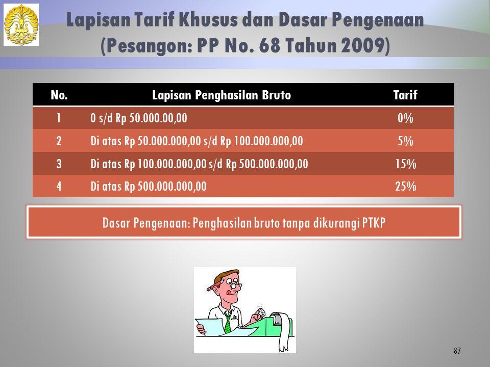 Lapisan Tarif Khusus dan Dasar Pengenaan (Pesangon: PP No. 68 Tahun 2009) 87 No.Lapisan Penghasilan BrutoTarif 10 s/d Rp 50.000.00,000% 2Di atas Rp 50