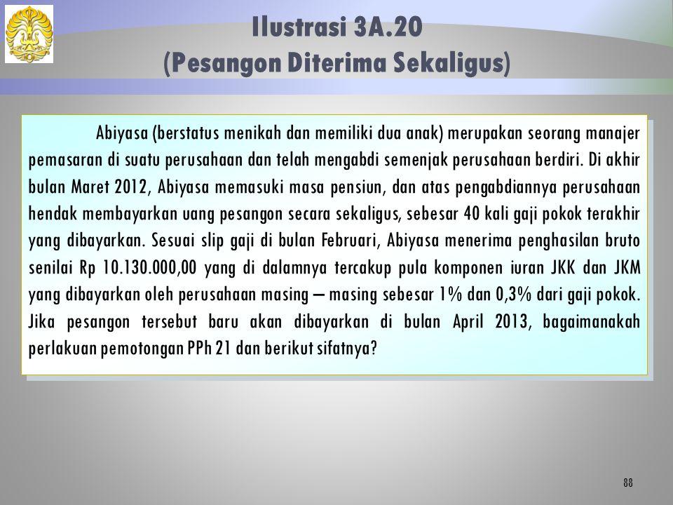 Ilustrasi 3A.20 (Pesangon Diterima Sekaligus) 88 Abiyasa (berstatus menikah dan memiliki dua anak) merupakan seorang manajer pemasaran di suatu perusa
