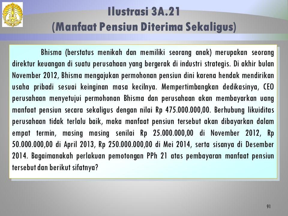 Ilustrasi 3A.21 (Manfaat Pensiun Diterima Sekaligus) 91 Bhisma (berstatus menikah dan memiliki seorang anak) merupakan seorang direktur keuangan di su
