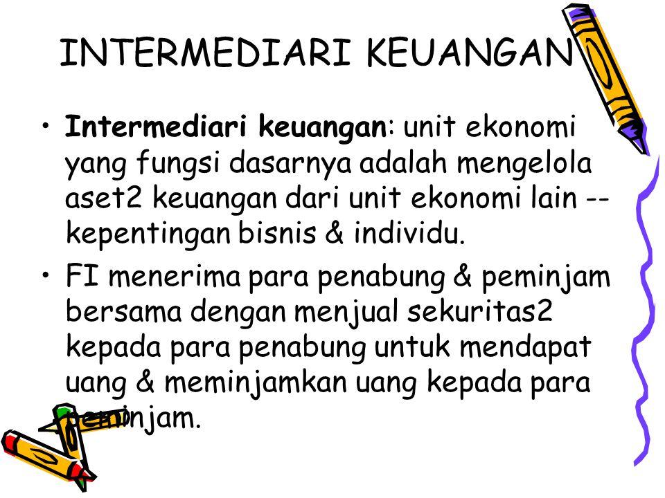 INTERMEDIARI KEUANGAN Intermediari keuangan: unit ekonomi yang fungsi dasarnya adalah mengelola aset2 keuangan dari unit ekonomi lain -- kepentingan b