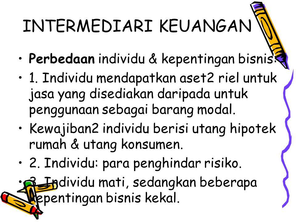 INTERMEDIARI KEUANGAN Perbedaan individu & kepentingan bisnis: 1. Individu mendapatkan aset2 riel untuk jasa yang disediakan daripada untuk penggunaan