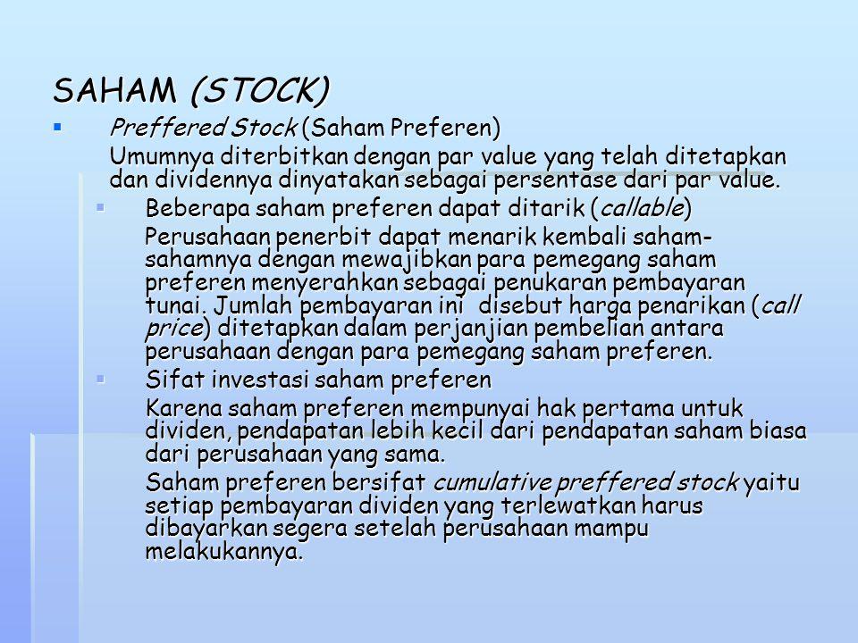 SAHAM (STOCK)  Preffered Stock (Saham Preferen) Umumnya diterbitkan dengan par value yang telah ditetapkan dan dividennya dinyatakan sebagai persenta