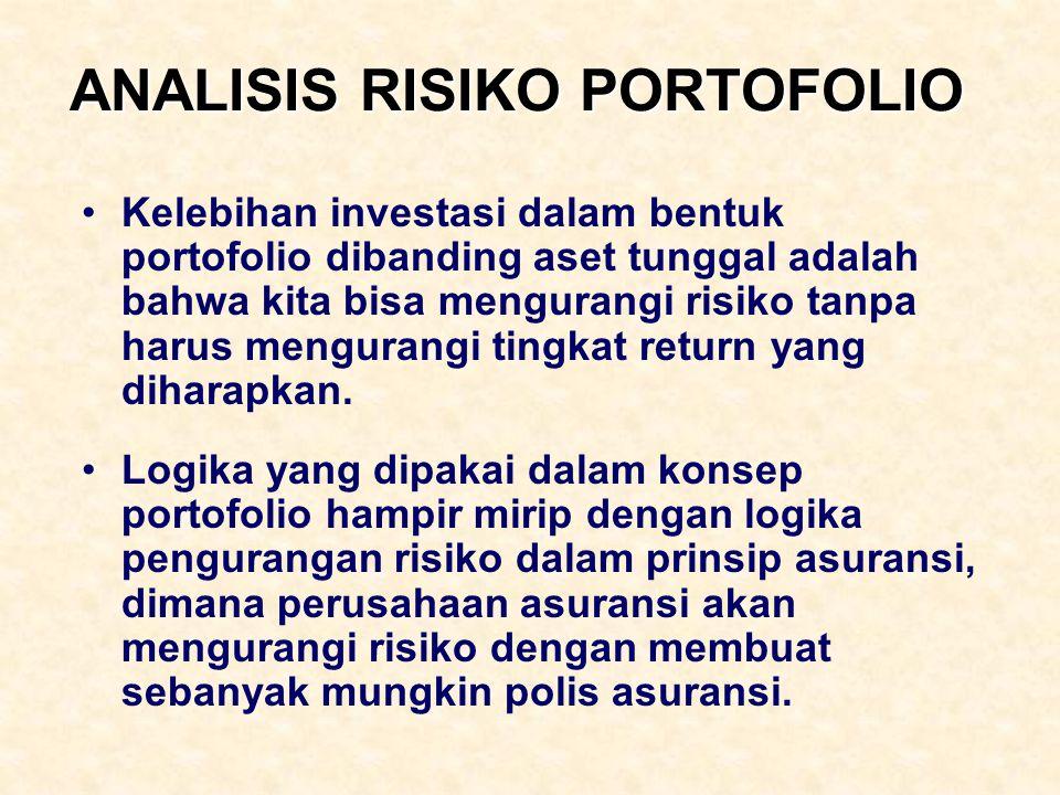 ANALISIS RISIKO PORTOFOLIO Kelebihan investasi dalam bentuk portofolio dibanding aset tunggal adalah bahwa kita bisa mengurangi risiko tanpa harus men