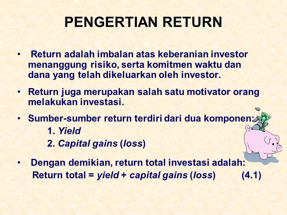 PENGERTIAN RETURN Return adalah imbalan atas keberanian investor menanggung risiko, serta komitmen waktu dan dana yang telah dikeluarkan oleh investor
