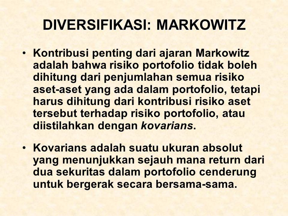 DIVERSIFIKASI: MARKOWITZ Kontribusi penting dari ajaran Markowitz adalah bahwa risiko portofolio tidak boleh dihitung dari penjumlahan semua risiko as
