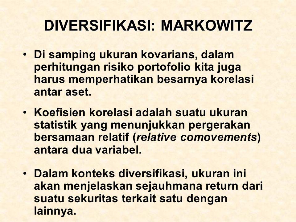 DIVERSIFIKASI: MARKOWITZ Di samping ukuran kovarians, dalam perhitungan risiko portofolio kita juga harus memperhatikan besarnya korelasi antar aset.