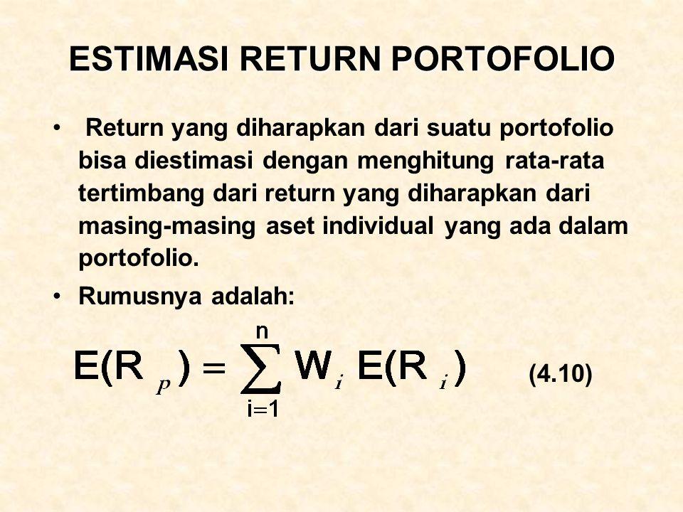 ESTIMASI RETURN PORTOFOLIO Return yang diharapkan dari suatu portofolio bisa diestimasi dengan menghitung rata-rata tertimbang dari return yang dihara