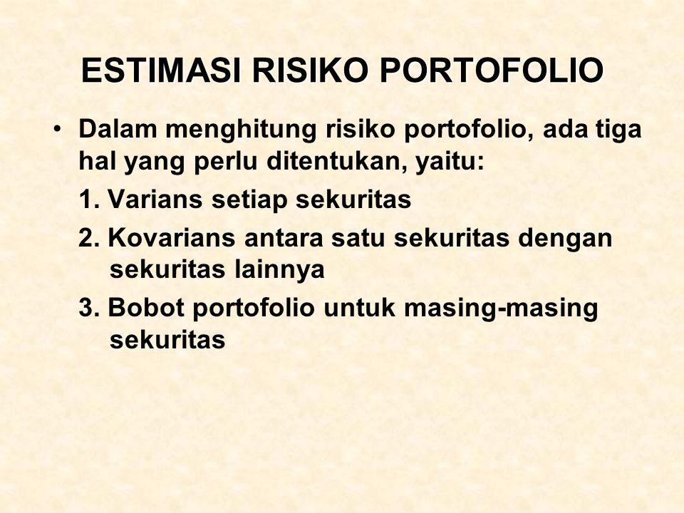 ESTIMASI RISIKO PORTOFOLIO Dalam menghitung risiko portofolio, ada tiga hal yang perlu ditentukan, yaitu: 1. Varians setiap sekuritas 2. Kovarians ant