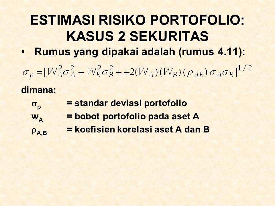 ESTIMASI RISIKO PORTOFOLIO: KASUS 2 SEKURITAS Rumus yang dipakai adalah (rumus 4.11): dimana:  p = standar deviasi portofolio w A = bobot portofolio