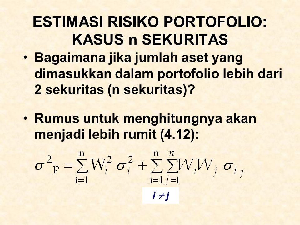 ESTIMASI RISIKO PORTOFOLIO: KASUS n SEKURITAS Bagaimana jika jumlah aset yang dimasukkan dalam portofolio lebih dari 2 sekuritas (n sekuritas)? Rumus