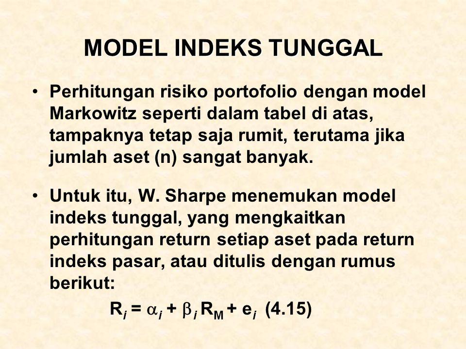MODEL INDEKS TUNGGAL Perhitungan risiko portofolio dengan model Markowitz seperti dalam tabel di atas, tampaknya tetap saja rumit, terutama jika jumla