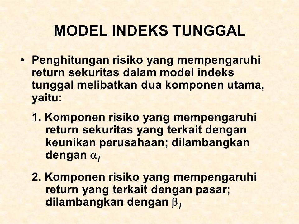 MODEL INDEKS TUNGGAL Penghitungan risiko yang mempengaruhi return sekuritas dalam model indeks tunggal melibatkan dua komponen utama, yaitu: 1. Kompon