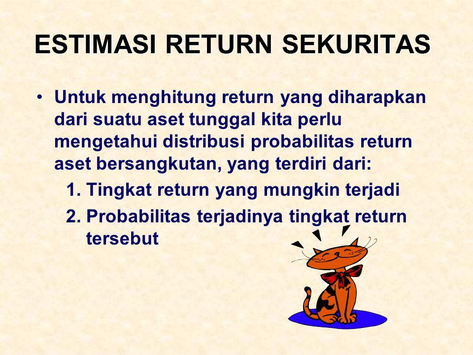 ESTIMASI RETURN SEKURITAS Untuk menghitung return yang diharapkan dari suatu aset tunggal kita perlu mengetahui distribusi probabilitas return aset be