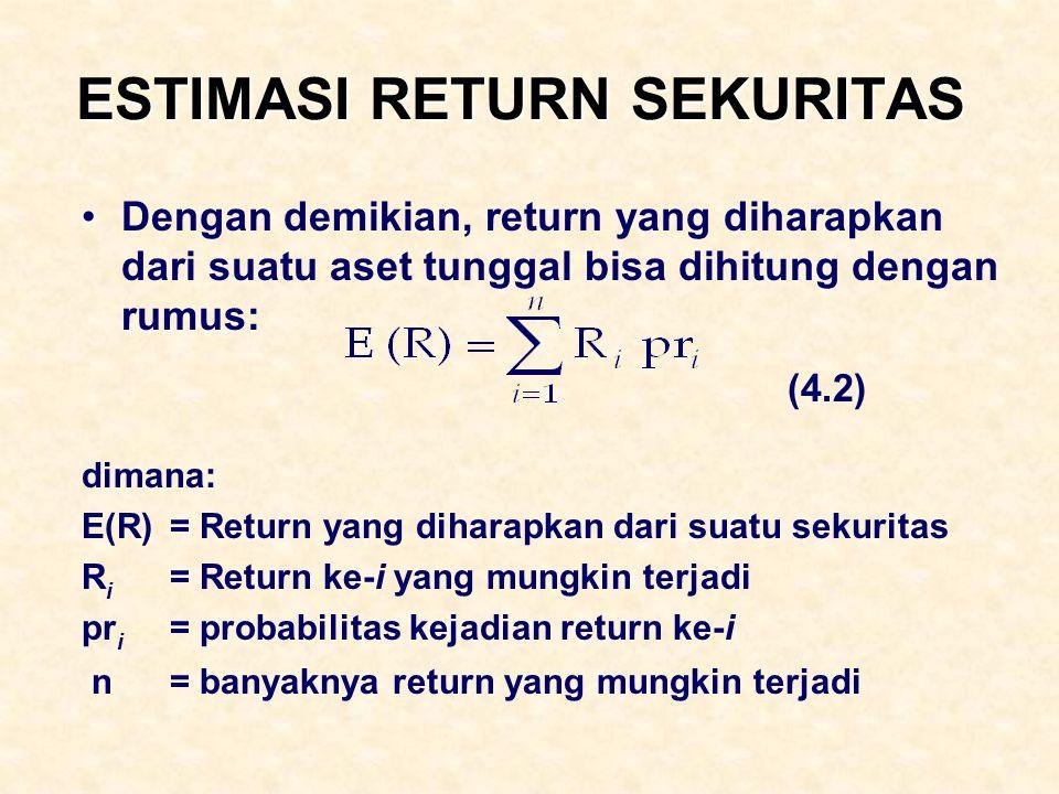 ESTIMASI RETURN SEKURITAS Dengan demikian, return yang diharapkan dari suatu aset tunggal bisa dihitung dengan rumus: (4.2) dimana: E(R) = Return yang