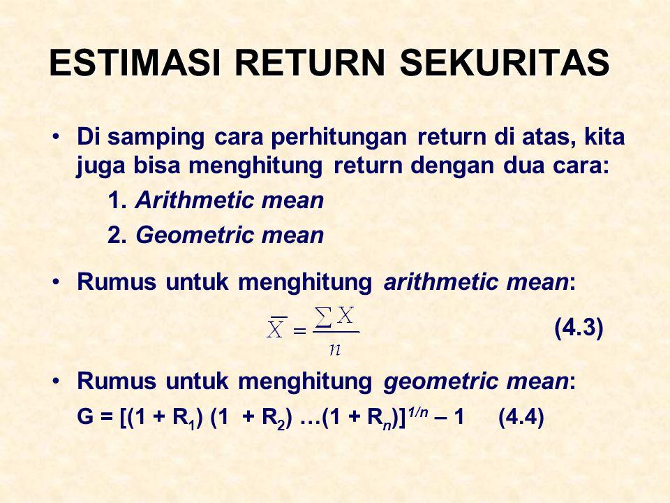 ESTIMASI RETURN SEKURITAS Di samping cara perhitungan return di atas, kita juga bisa menghitung return dengan dua cara: 1. Arithmetic mean 2. Geometri