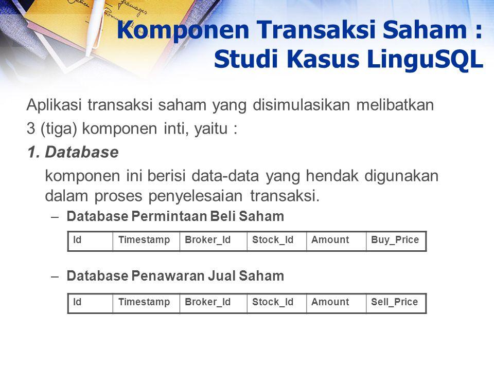 Aplikasi transaksi saham yang disimulasikan melibatkan 3 (tiga) komponen inti, yaitu : 1. Database komponen ini berisi data-data yang hendak digunakan