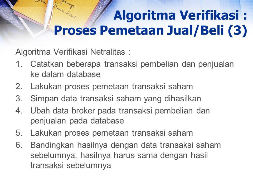 Algoritma Verifikasi Netralitas : 1.Catatkan beberapa transaksi pembelian dan penjualan ke dalam database 2.Lakukan proses pemetaan transaksi saham 3.