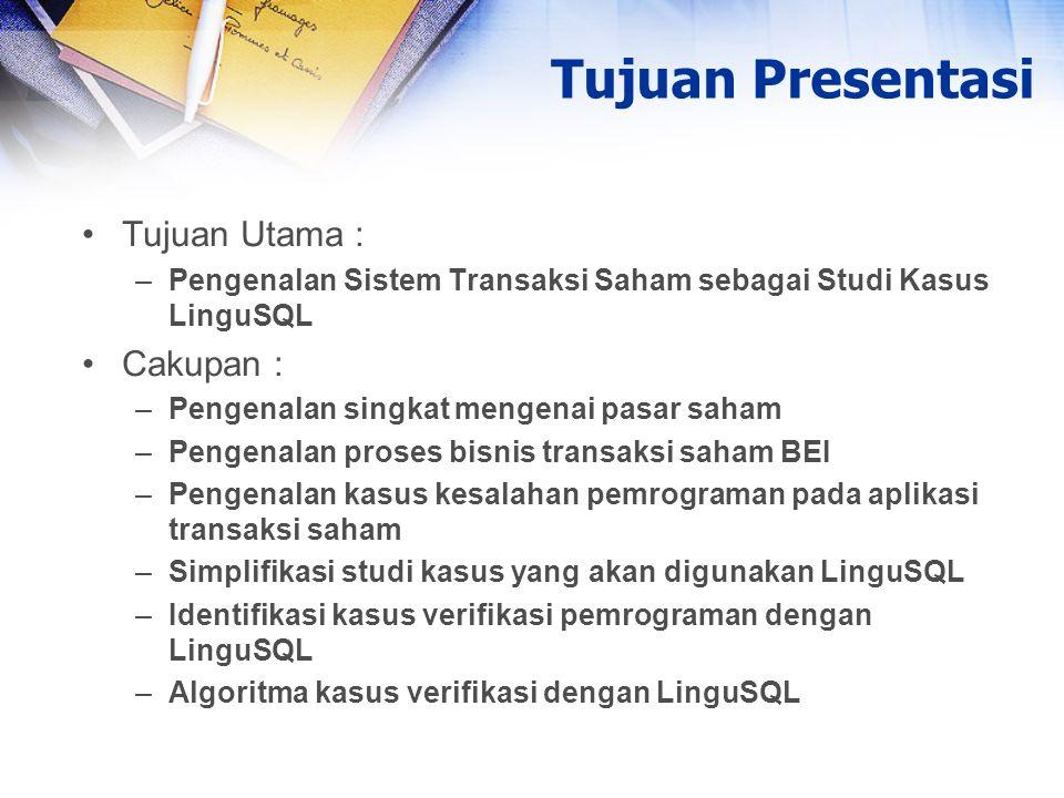 Tujuan Utama : –Pengenalan Sistem Transaksi Saham sebagai Studi Kasus LinguSQL Cakupan : –Pengenalan singkat mengenai pasar saham –Pengenalan proses b