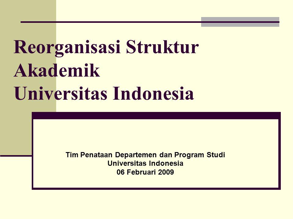 Tim Penataan Departemen dan Program Studi Universitas Indonesia 06 Februari 2009 Reorganisasi Struktur Akademik Universitas Indonesia