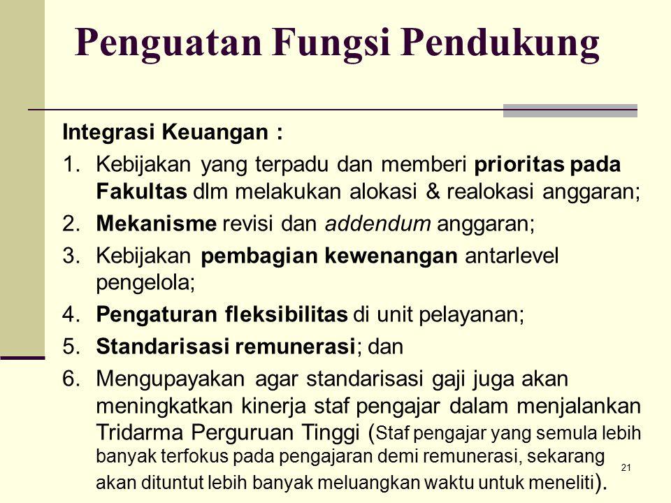 21 Penguatan Fungsi Pendukung Integrasi Keuangan : 1.Kebijakan yang terpadu dan memberi prioritas pada Fakultas dlm melakukan alokasi & realokasi anggaran; 2.Mekanisme revisi dan addendum anggaran; 3.Kebijakan pembagian kewenangan antarlevel pengelola; 4.Pengaturan fleksibilitas di unit pelayanan; 5.Standarisasi remunerasi; dan 6.Mengupayakan agar standarisasi gaji juga akan meningkatkan kinerja staf pengajar dalam menjalankan Tridarma Perguruan Tinggi ( Staf pengajar yang semula lebih banyak terfokus pada pengajaran demi remunerasi, sekarang akan dituntut lebih banyak meluangkan waktu untuk meneliti ).