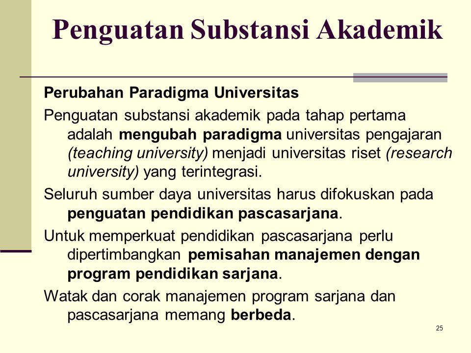 25 Penguatan Substansi Akademik Perubahan Paradigma Universitas Penguatan substansi akademik pada tahap pertama adalah mengubah paradigma universitas pengajaran (teaching university) menjadi universitas riset (research university) yang terintegrasi.