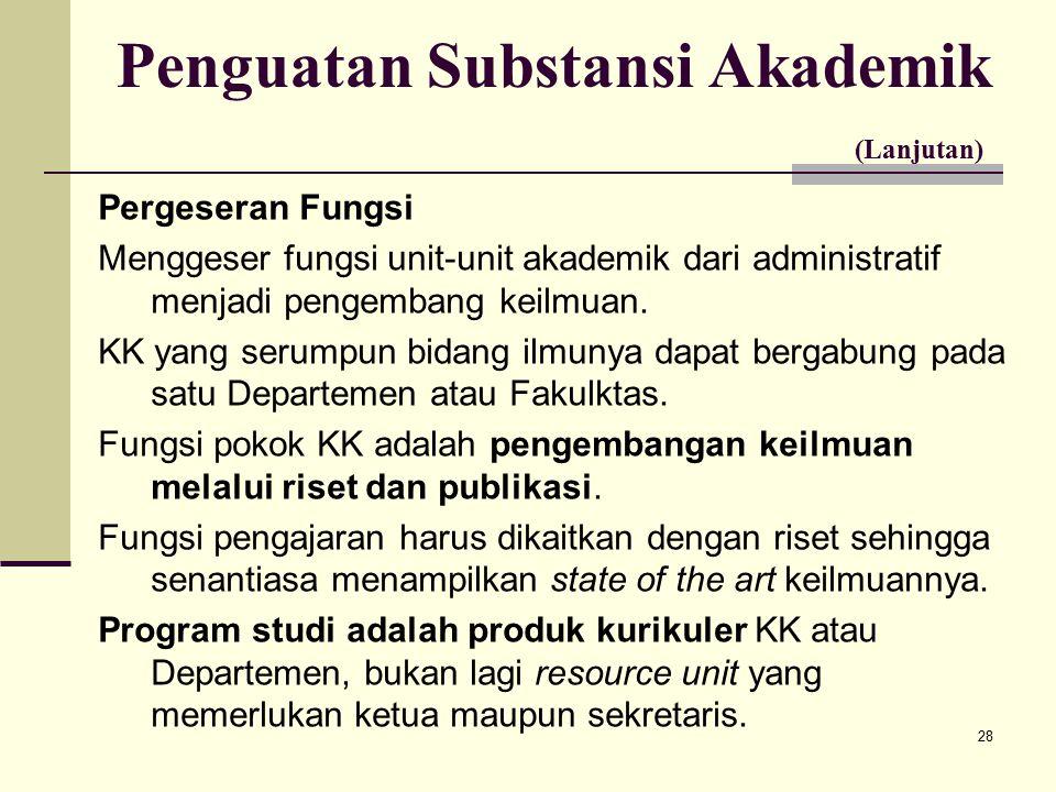 28 Penguatan Substansi Akademik (Lanjutan) Pergeseran Fungsi Menggeser fungsi unit-unit akademik dari administratif menjadi pengembang keilmuan.